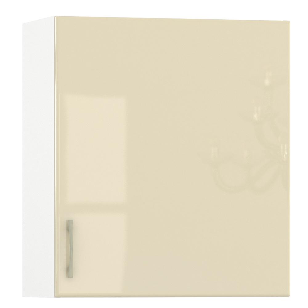 Кухня Сандра ваниль глянец/белый Шкаф навесной 600 1 дверь, ШхГхВ 60х32х68 см., универсальная дверь, можно сушку установить