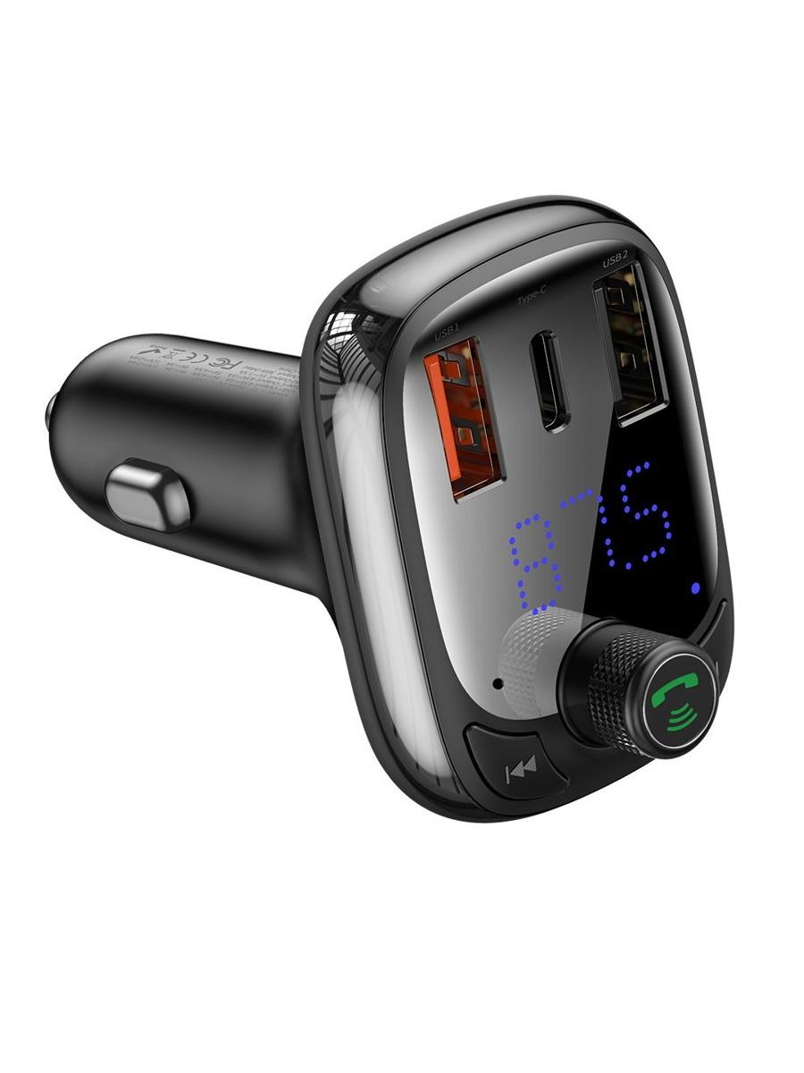 Автомобильное зарядное устройство Baseus T typed S-13 Wireless MP3 Car charger (PPS Quick Charger-EU) Black