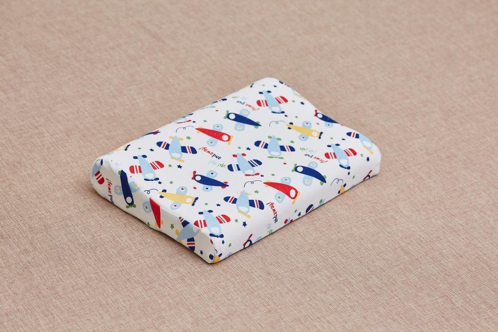 Детская анатомическая подушка от 3 лет ComfortExpert 40*26*7/5 с валиком для мальчика (Самолеты)