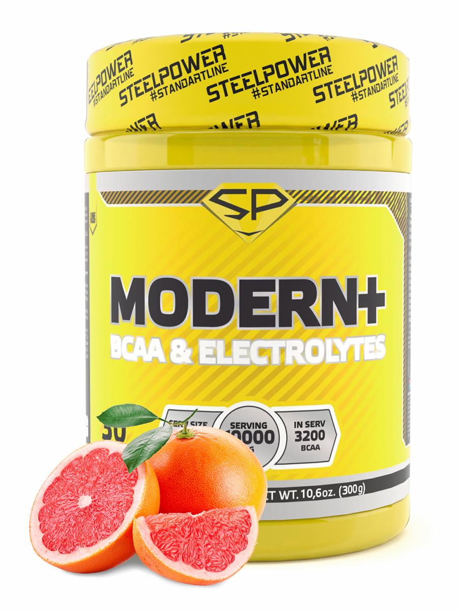 STEELPOWER /Аминокислоты комплекс BCAA 2:1:1 Бета аланин Цитруллин Электролиты Кофеин BCAA MODERN+, 300г, Грейпфрут