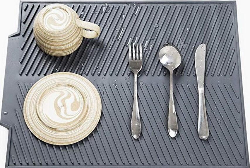 Силиконовый коврик ZINKO для сушки посуды со сливом, подставка для горячего, прихватка 25*40 см