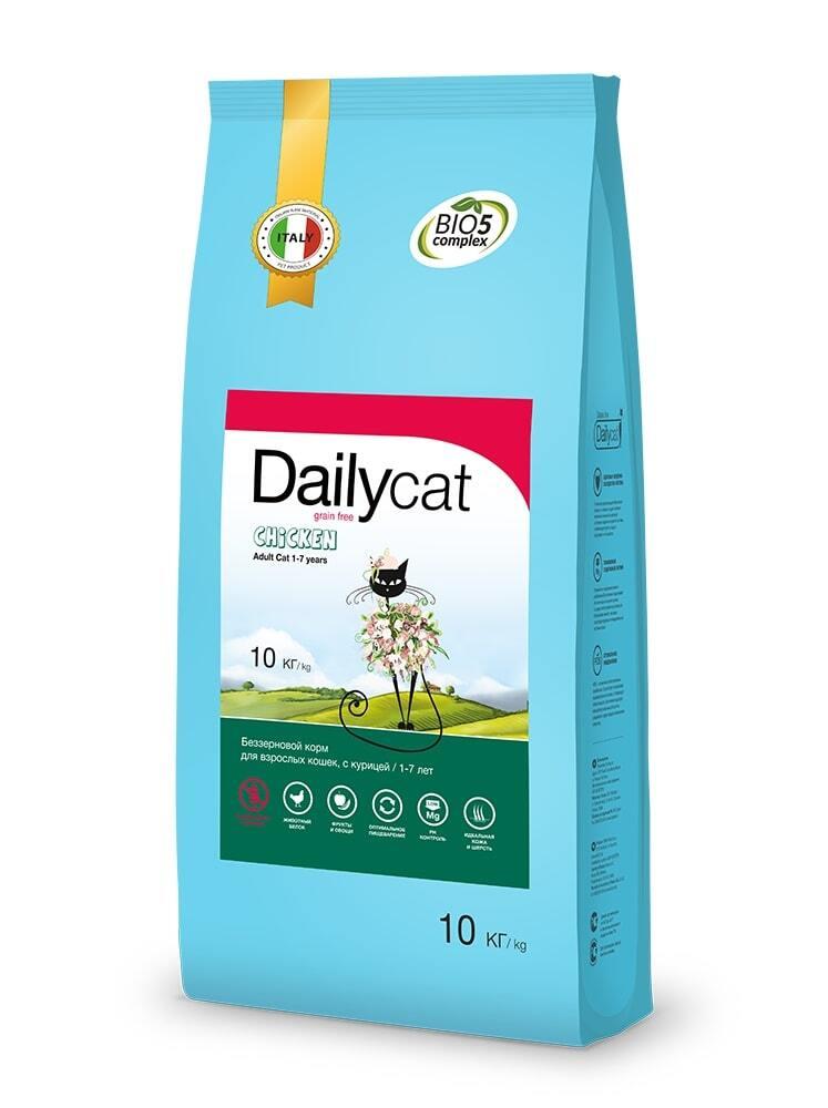 Dailycat Grain Free Adult сухой беззерновой корм для взрослых кошек с курицей - 10 кг