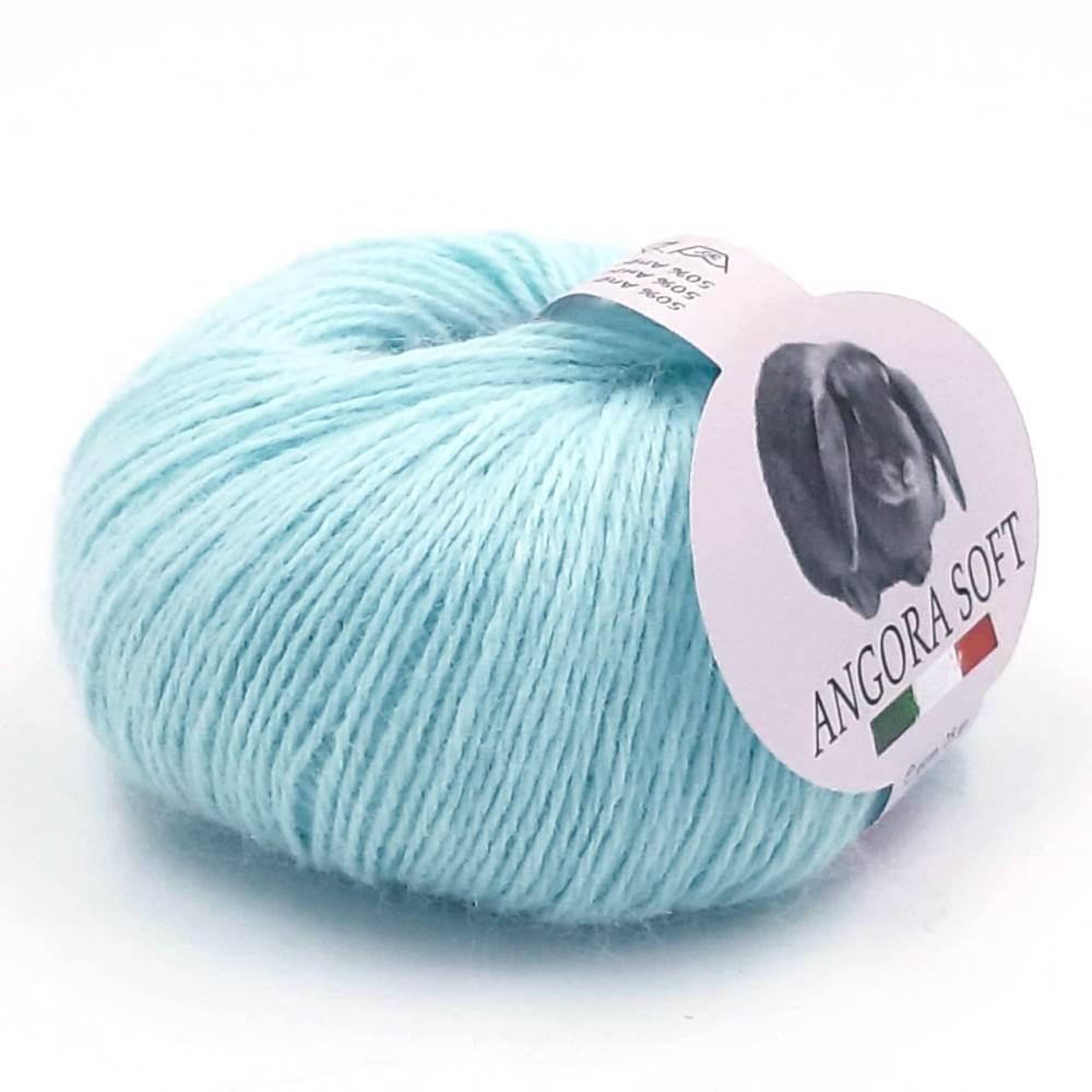 Пряжа Kutnor Angora Soft (50% ангора, 20% меринос, 30% полиамид) цв. 665 Голубая мята 2 мотка