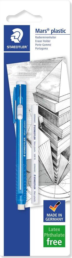 Ластик Staedtler Mars Plastic, в форме карандаша со сменным ластиком, 52850BKDA, белый, синий  #1