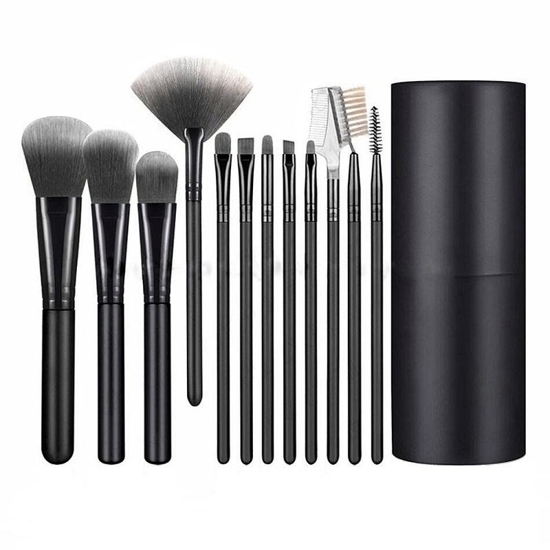 Набор кистей для макияжа черный12 шт + футляр подставка #1
