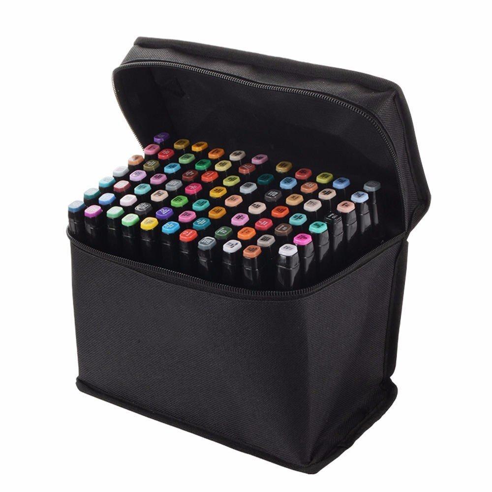 Маркеры для скетчинга 80 цветов , набор профессиональных двухсторонних маркеров для скетчинга в чехле,цвет #1