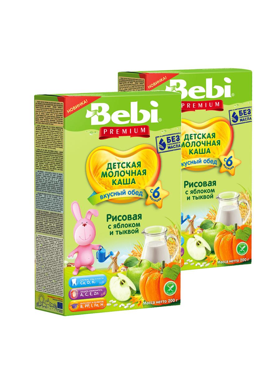 """""""Bebi Premium """"Молочная каша рисовая с яблоком и тыквой, с 6 месяцев, 200 г  #1"""