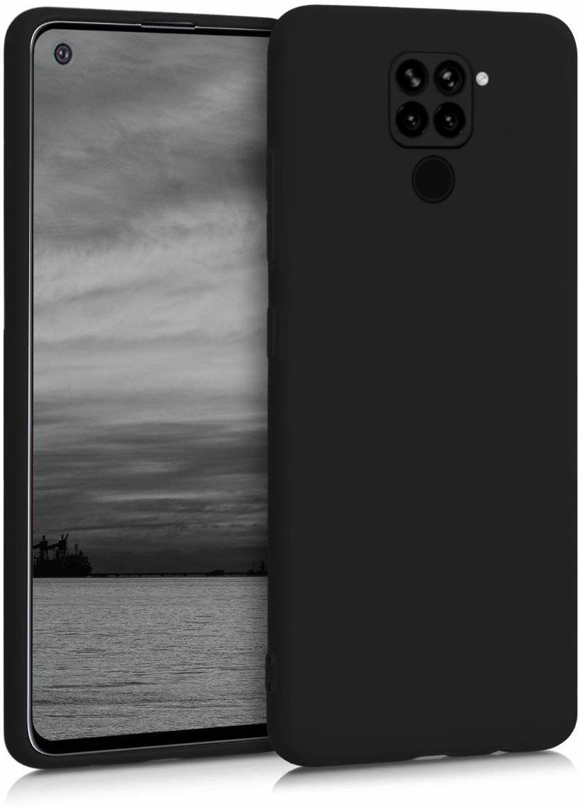 Матовый силиконовый чехол бампер на Xiaomi Redmi Note 9, черный #1