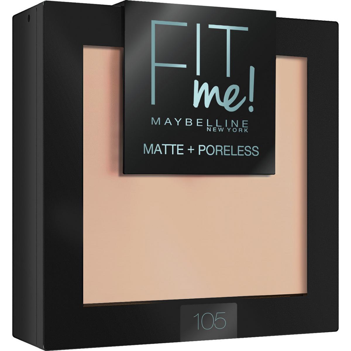 """Maybelline New York Пудра для лица """"Fit Me"""", матирующая, скрывающая поры, оттенок 105, Натурально-бежевый #1"""