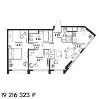 Квартира 68,60 м2 (3 к.) в ЖК iLove, м. Алексеевская, Москва. Услуга бронирования!