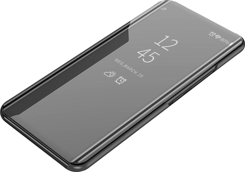 Чехол-книжка MyPads для Huawei Honor 9X с дизайном Clear View Cover с полупрозрачной пластиковой крышкой с зеркальной поверхностью черный