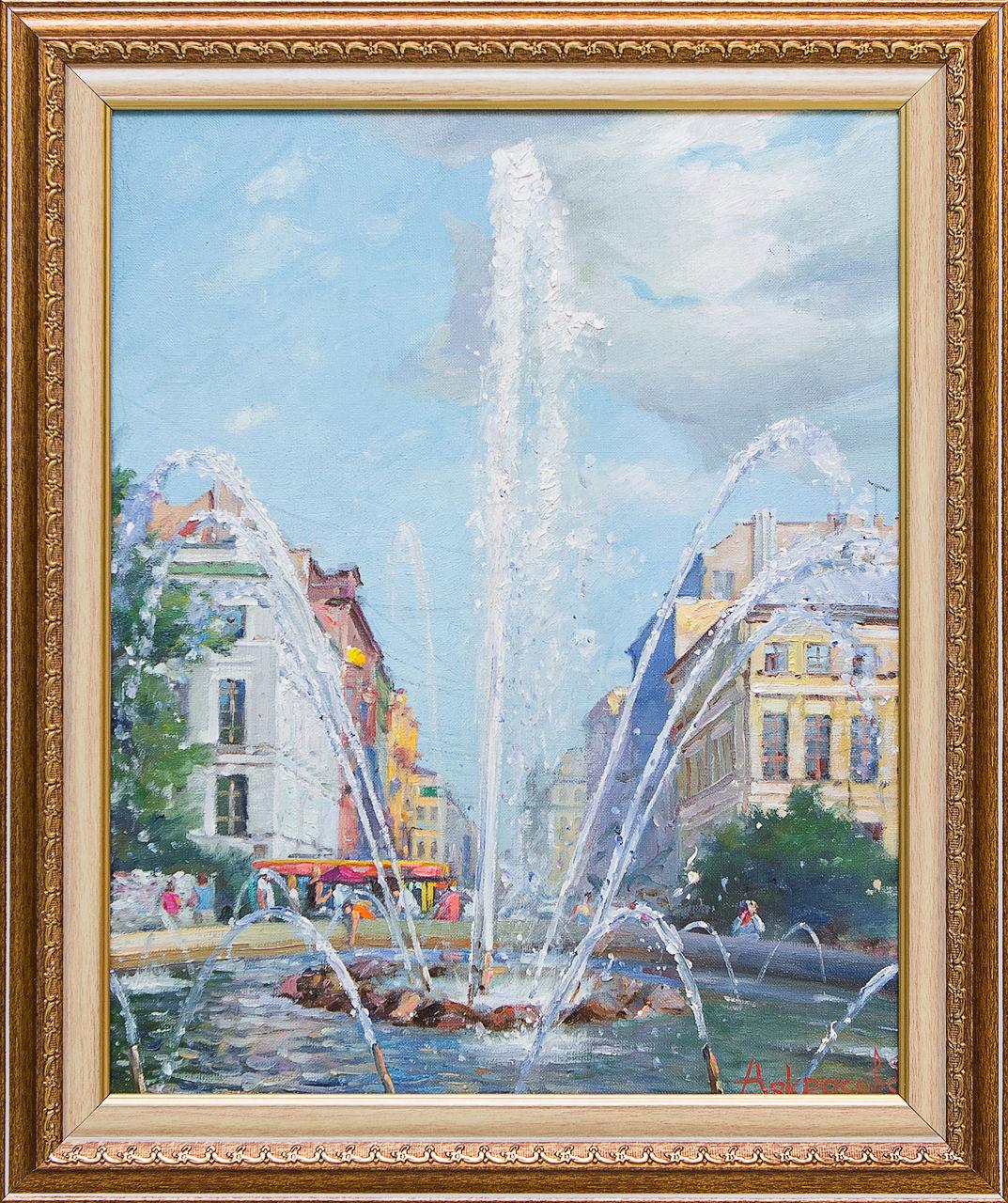 Картина маслом Адмиралтейский фонтан Некрасов некрасов некрасов последние песни