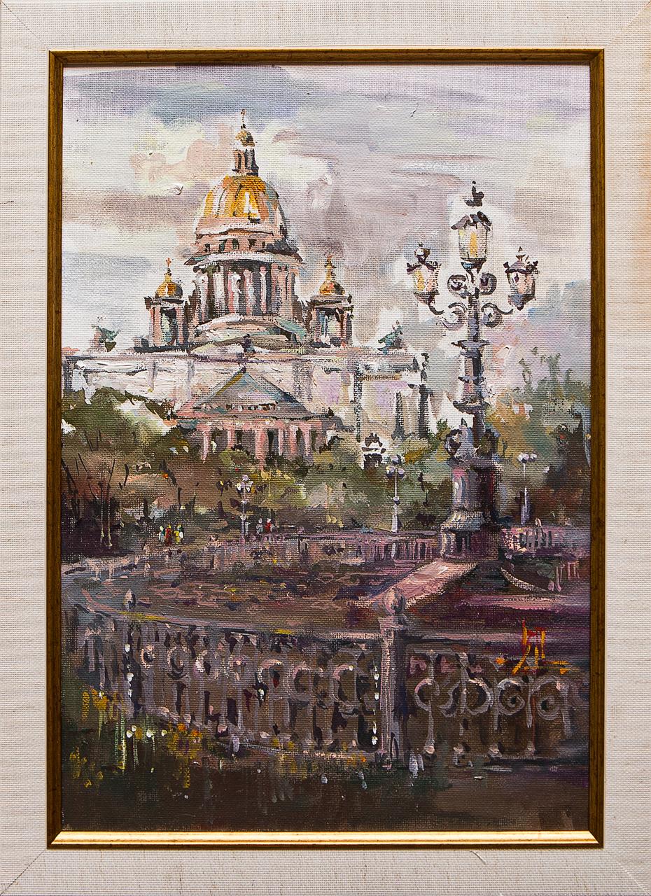 Картина маслом Вид на Исаакиевский собор Ларионова картина маслом владимирский собор боем