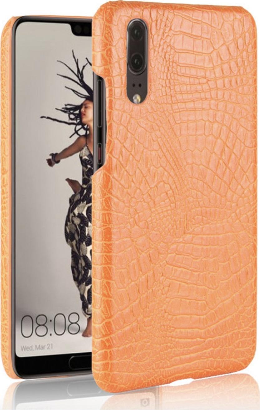 Чехол-панель Mypads для Huawei Honor 10i / Enjoy 9S / P Smart Plus 2019 тонкий задний бампер на пластиковой основе с отделкой под кожу крокодила оранжевый