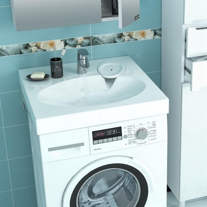 Раковина над стиральной машиной Луна 600/90/600 с кронштейнами