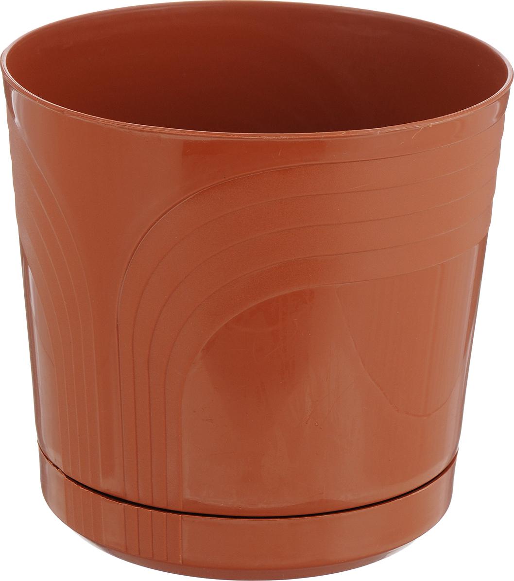 Горшок для цветов Korad, с поддоном, K312, диаметр 15 см горшок с поддоном d13см h12см стекло розовый