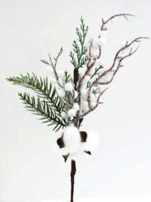 Ветка декоративная новогодняя, DN-53028, зеленый, белый, высота 32 см