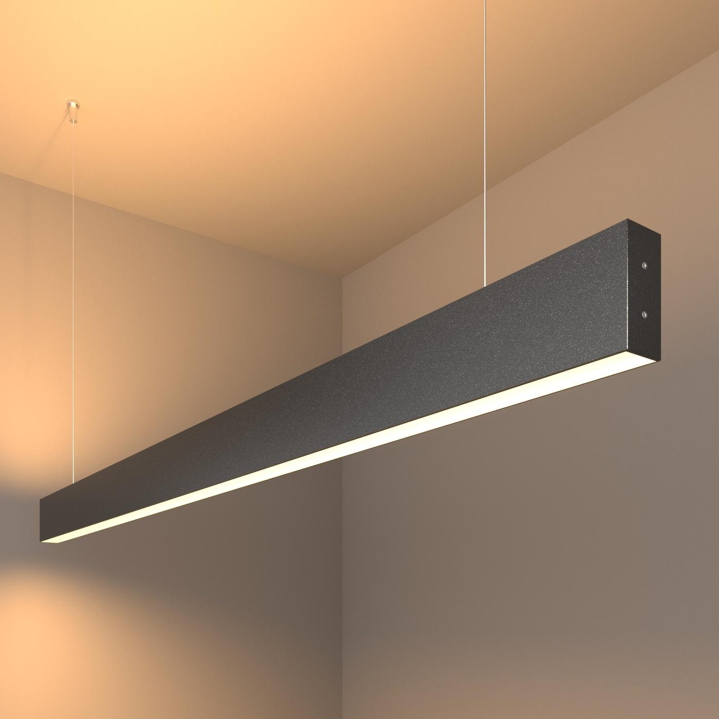 101-200-40-128 / Линейный светодиодный подвесной двусторонний светильник 128см 50W 3000K черная шагрень