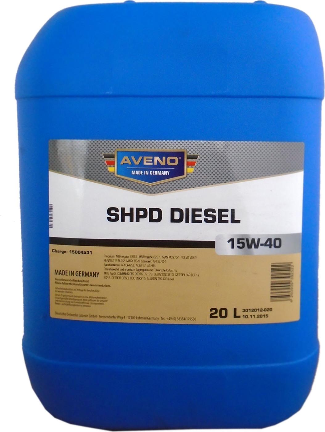 Моторное масло AVENO SHPD Diesel SAE 15W-40 (20л) (0002-000082-020)