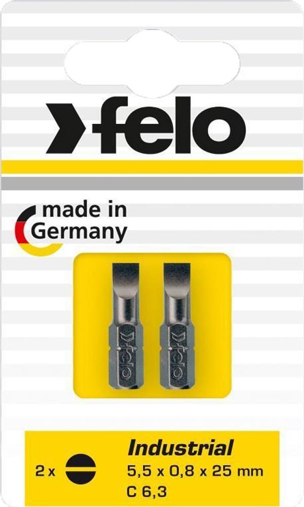 Бита для инструмента Felo Industrial, плоская шлицевая 5,5х1х25 мм, FEL-02052036, 2 шт