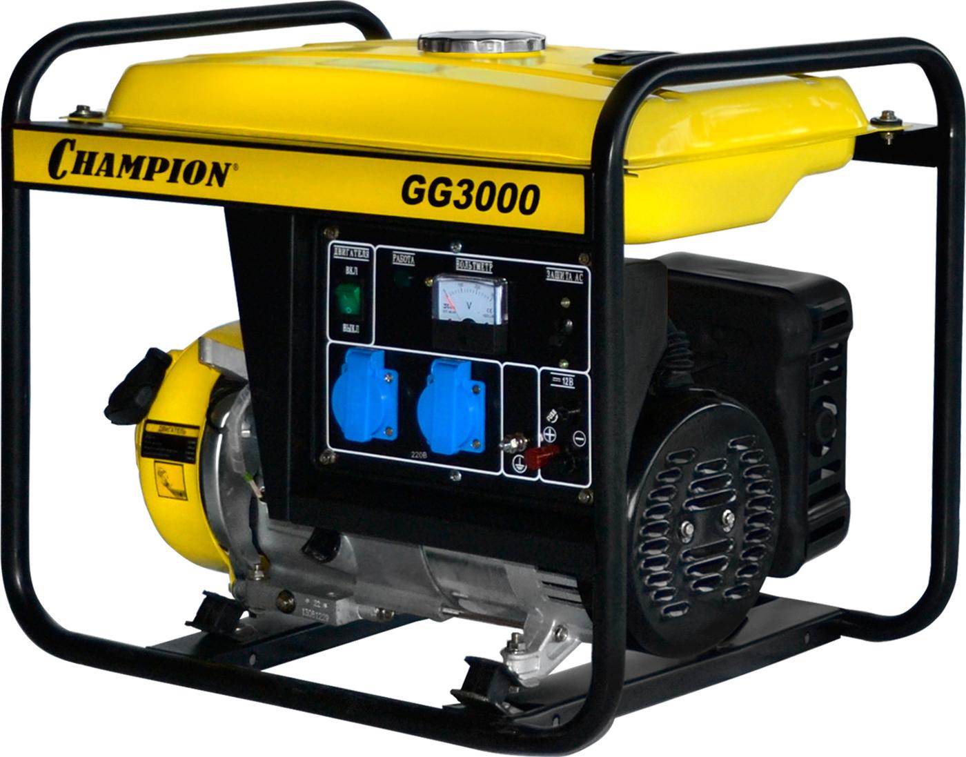 Генератор CHAMPION GG3000 (2,3/2,5КВт OHV 4,62 лс 15л 40,1кг 1,4л/ч 12V)