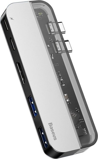 Хаб Baseus Transparent Series Dual Type-C Multifunctional HUB Adapter (Type-C to Type-C*2+USB3.0*2+4K HD*1) Deep gray
