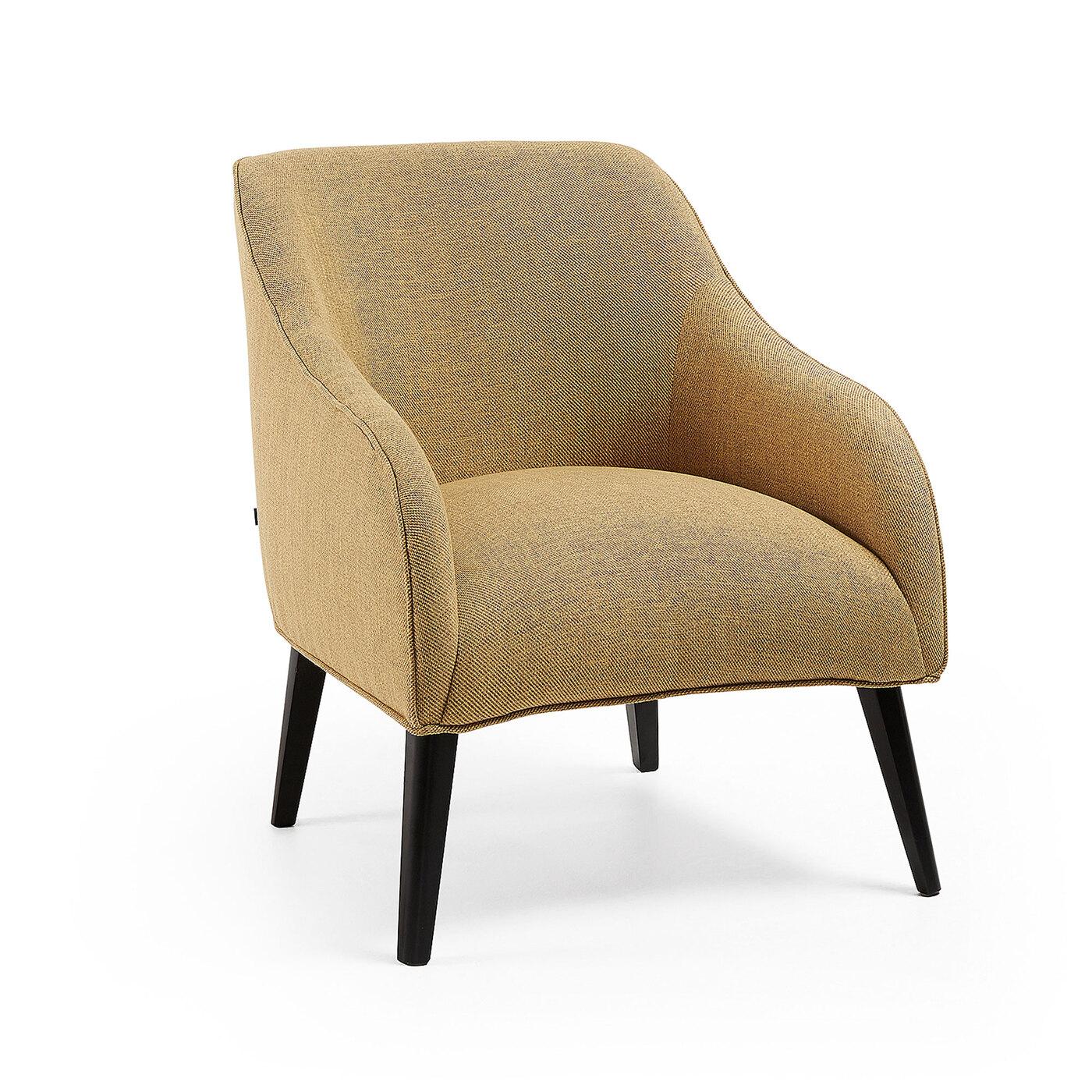 Кресло Lobby горчичное Ш.65 В.80 Г.75 Вес 13.3кг; Материал Дерево, Ткань; Цвет Желтый