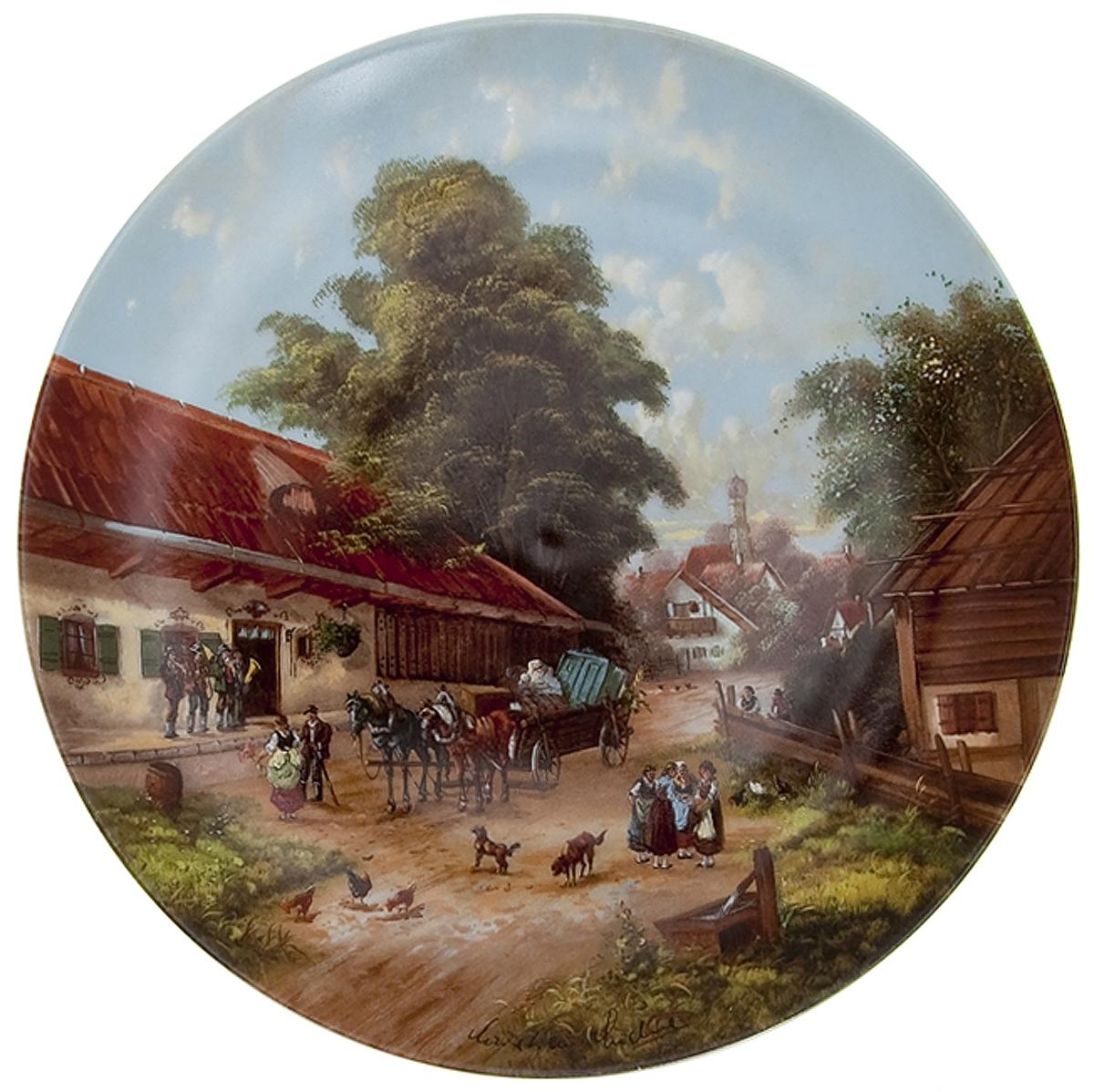 """Кристиан Люкель """"Свадебный дом"""", декоративная тарелка. Фарфор, деколь с подрисовкой. Seltmann Weiden, Германия, 1987 год"""