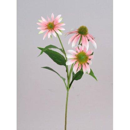Цветок искусственный Рудбекия бело-розовая 63 см-19984