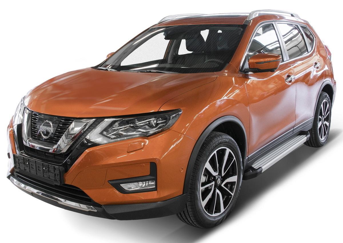 """Пороги на автомобиль """"Silver"""" Rival для Nissan Qashqai II 2014-2019 2019-н.в./X-Trail T32 2015-2018 2018-н.в./Renault Koleos II 2016-2020, 173 см, 2 шт., алюминий, F173AL.4113.1"""