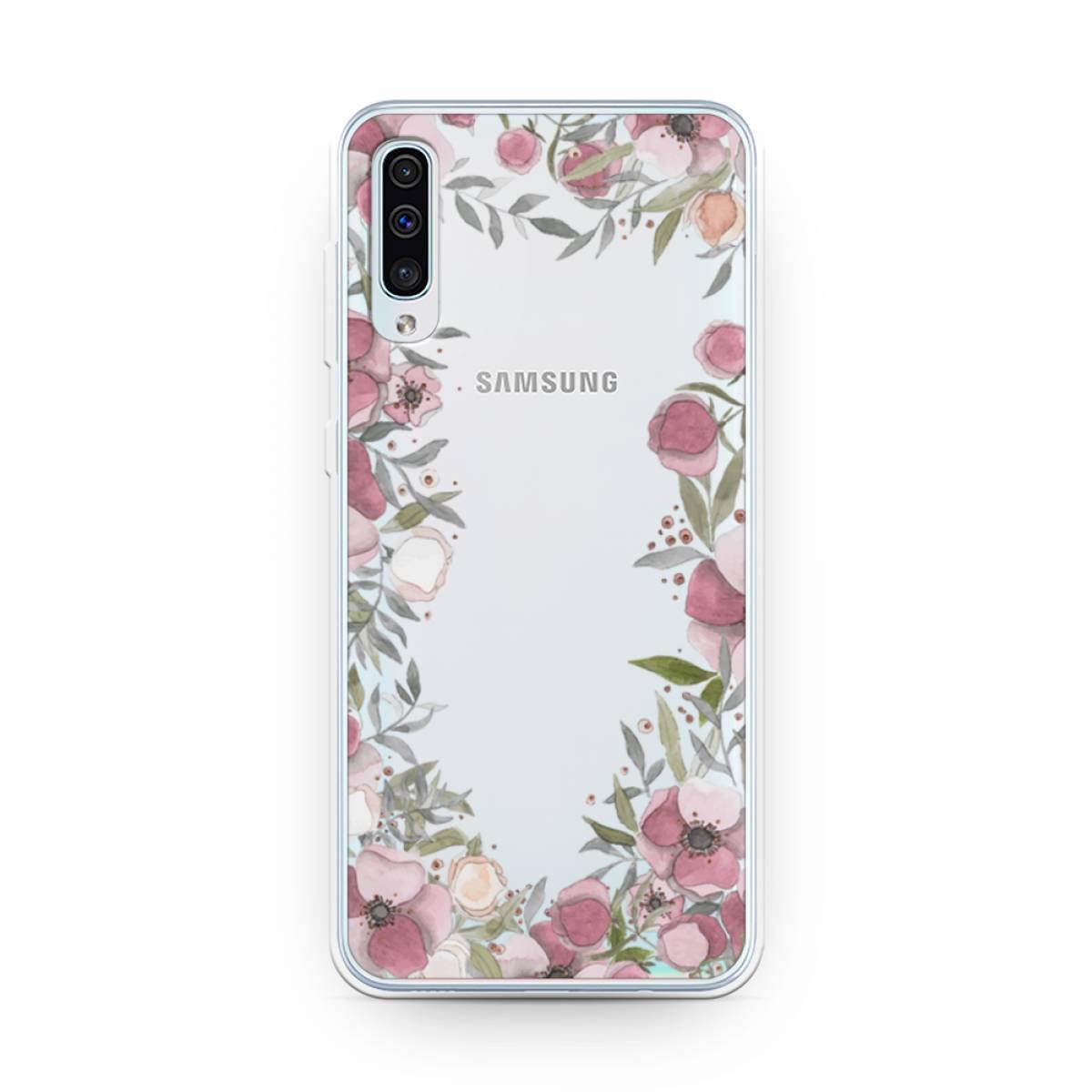 Силиконовый чехол Розовая цветочная рамка на Samsung Galaxy A50  #1