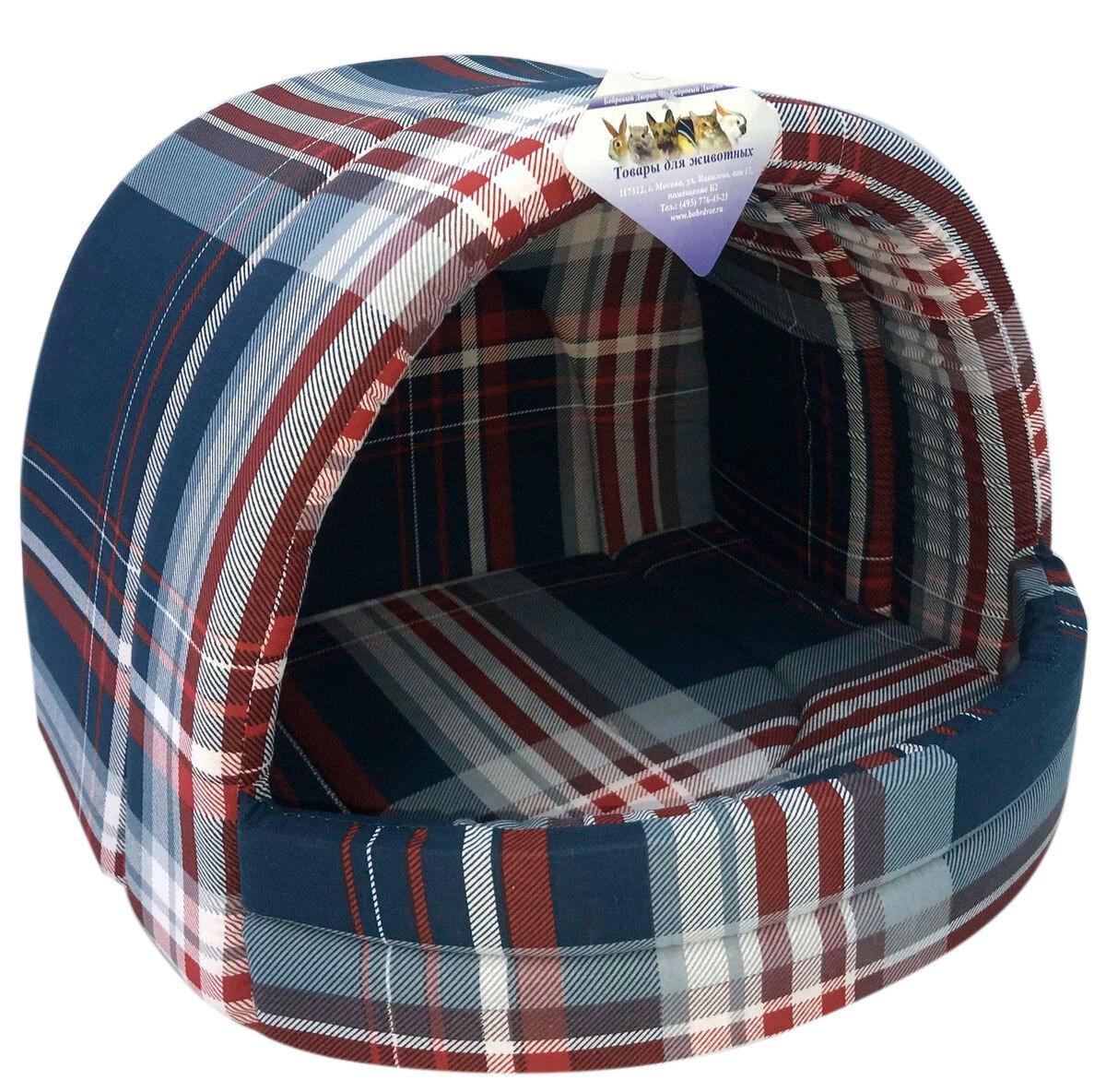 Мягкий домик Лежанка для собак эстрада № 2 шотландка синяя 44 х 40 х 36 см  #1