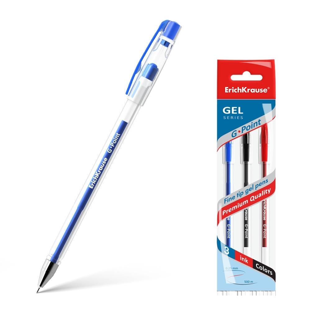 Ручка гелевая ErichKrause G-Point, цвет чернил: синий, черный, красный (в пакете по 3 шт.)  #1