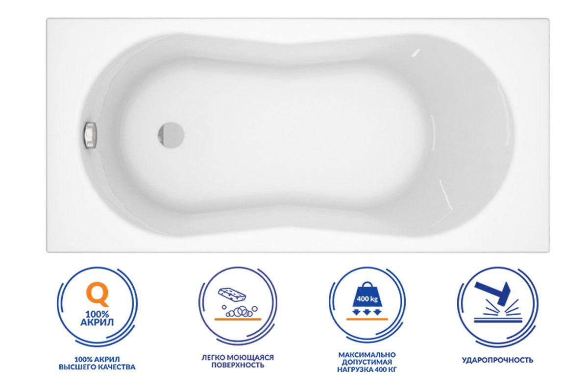 Ванна прямоугольная Cersanit NIKE 100% английский акрил 4мм 150x70 (ультра белая)  #1