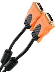 Кабель соединительный AOpen/Qust DVI-D (Male/Male) Dual Link, 2 ферритовых фильтра, 1.8м, чёрный, оранжевый (ACG446D-1.8M). DVI кабели