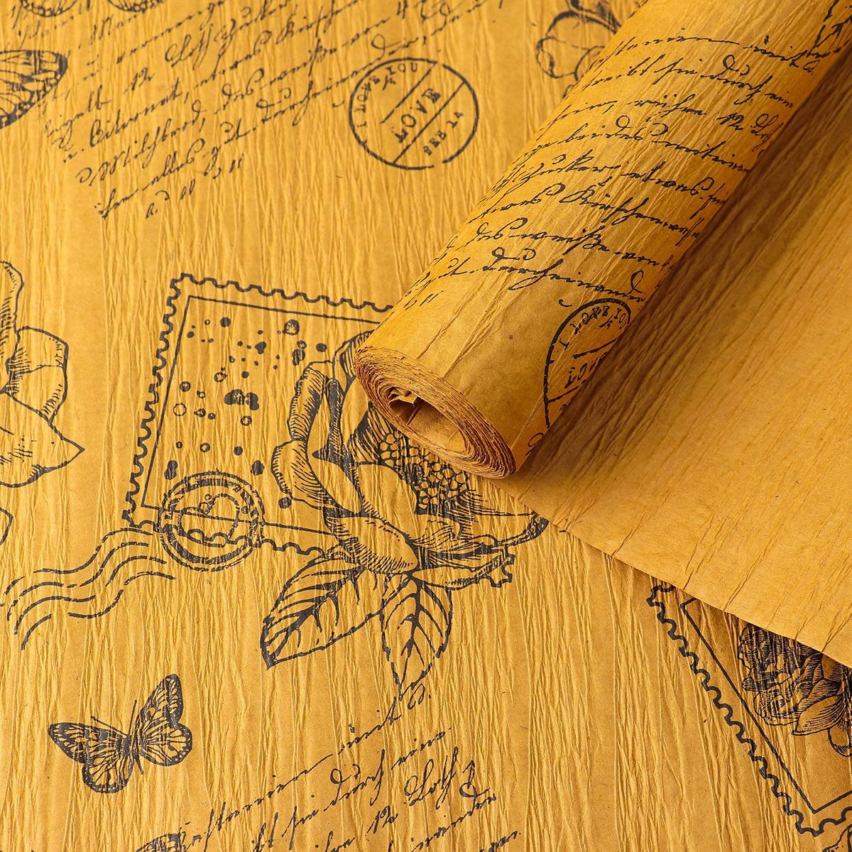 Бумага упаковочная Палермо, эколюкс крепированный, 4114441, желтый, 70 см х 5 м