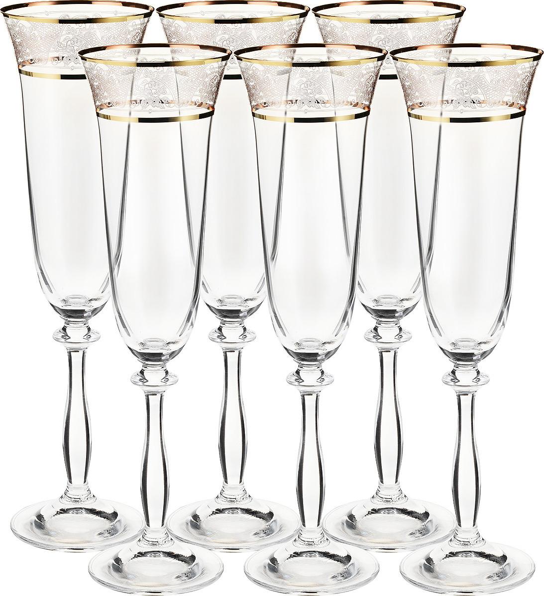 Набор бокалов для шампанского Bohemia Crystal Анжела, 190 мл, 6 шт. 40600/437586/190 набор бокалов для шампанского bohemia crystal оливия 190 мл 6 шт