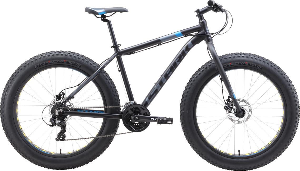 Велосипед STARK Fat 26.2 HD 2019 20 чёрный/голубой/серый