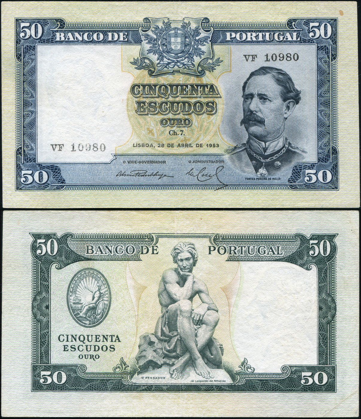Банкнота. Португалия 50 эскудо. 28.04.1953 XF+. Кат.P.160