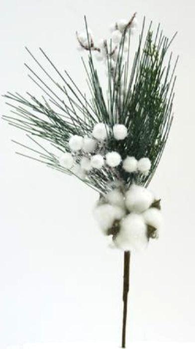 Ветка декоративная новогодняя, DN-53027, зеленый, белый, высота 34 см