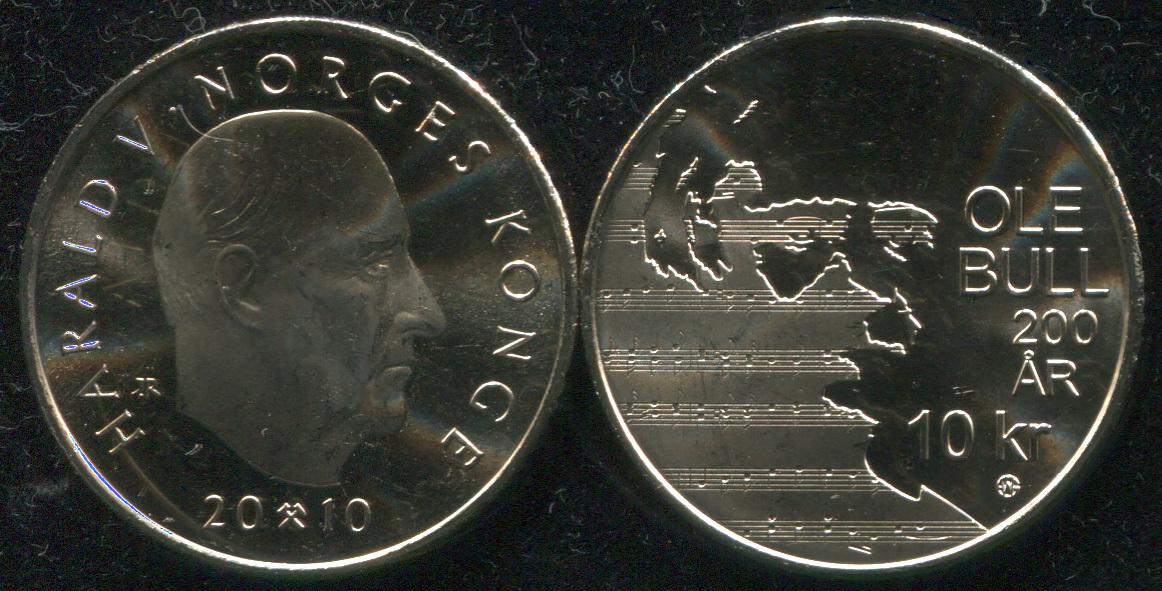 Монета. Норвегия 10 крон. 2010 (KM.483. Unc) 200 лет со дня рождения скрипача Уле Булля
