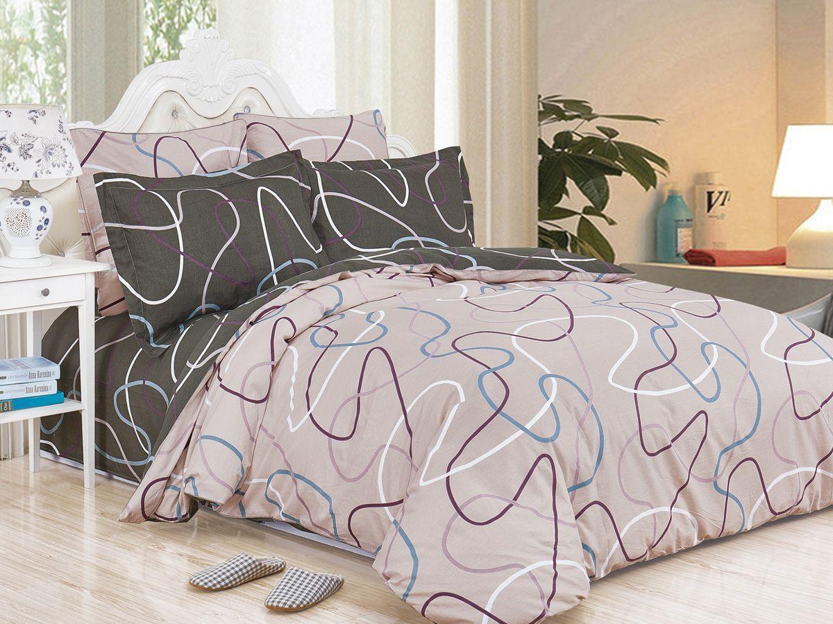 Комплект постельного белья Cleo Satin de' Luxe Барбара, 20/521-SK, разноцветный, 2-спальный, наволочки 70x70