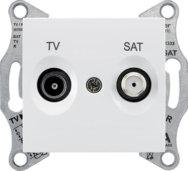 Механизм телевизионной розетки Schneider Electric Sedna TV 5-862мГц + SAT 950-2400мГц оконечный белый