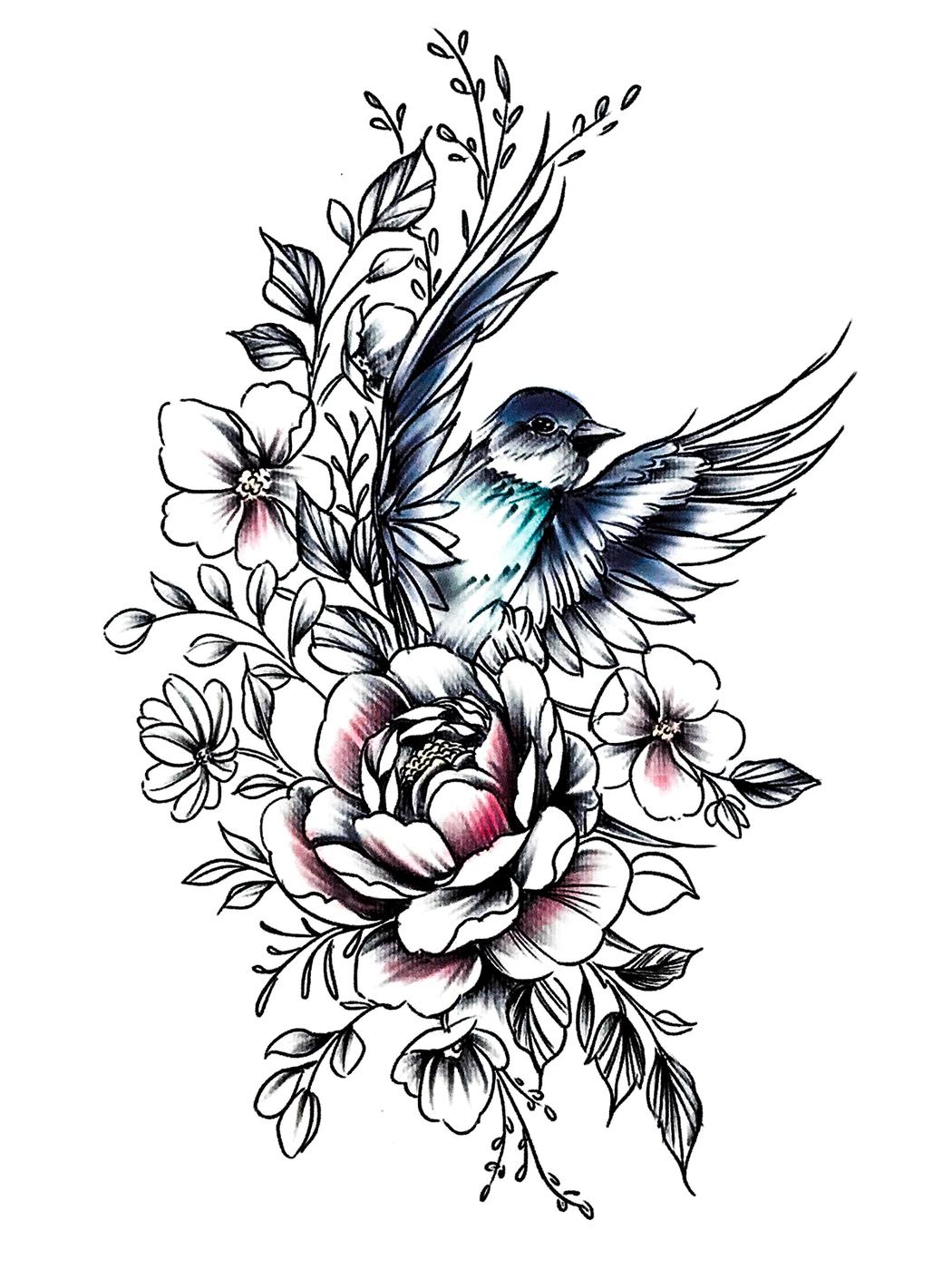 птицы на цветах эскиз тату образом, двигаясь под