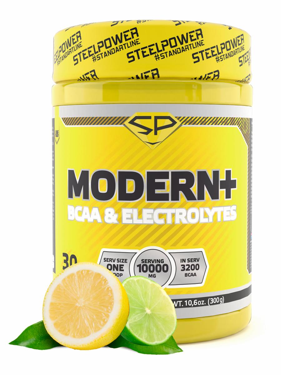 STEELPOWER /Аминокислоты комплекс BCAA 2:1:1 Бета аланин Цитруллин Электролиты Кофеин BCAA MODERN+, 300г, Лимон-Лайм