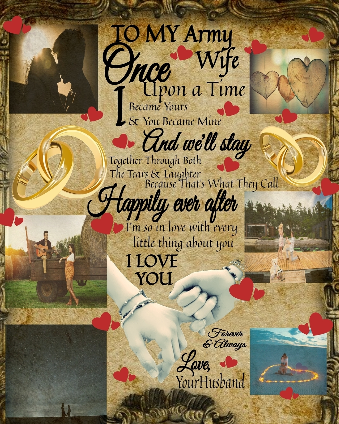 Scarlette Heart. To My Army Wife Once Upon A Time I Became Yours & You Became Mine And We'll Stay Together Through Both The Tears & Laughter. 14th Anniversary Gifts For Her - Blank Paperback Composition Book To Write In What You Love To Do - Couple Portrait