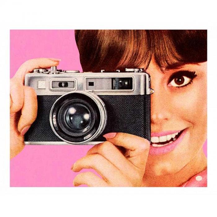 Картина (50х40 см) Девушка с фотоаппаратом HE-101-744