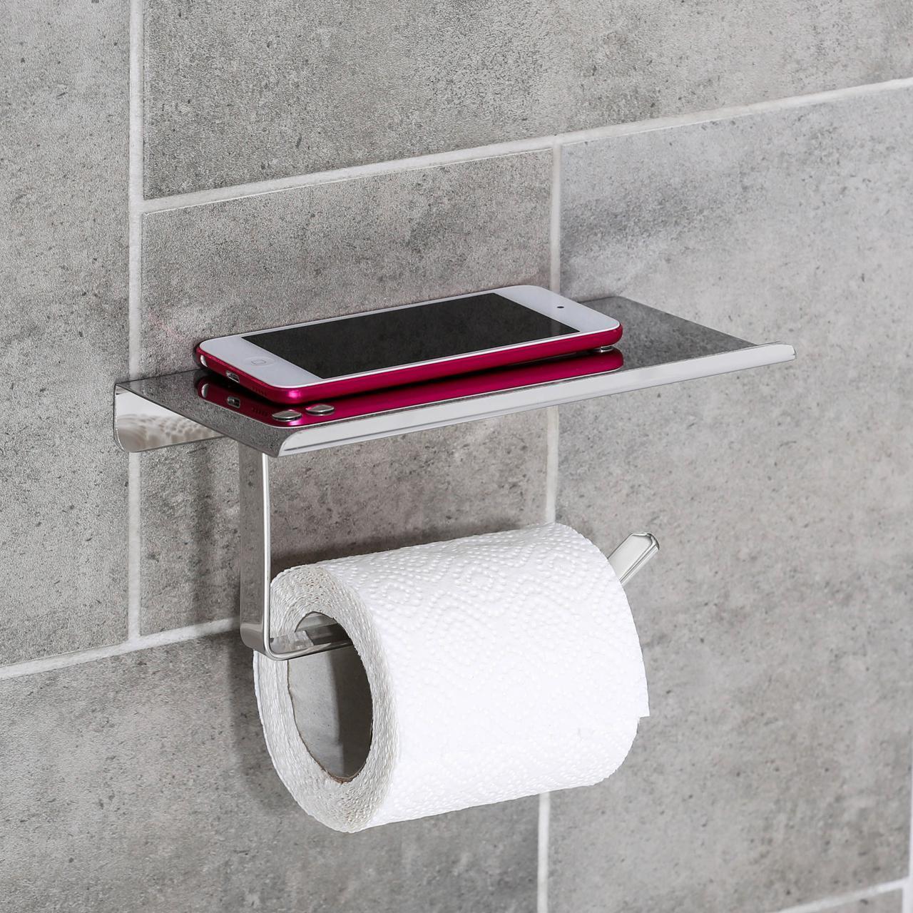 Держатель для туалетной бумаги с полочкой (нержавейка)