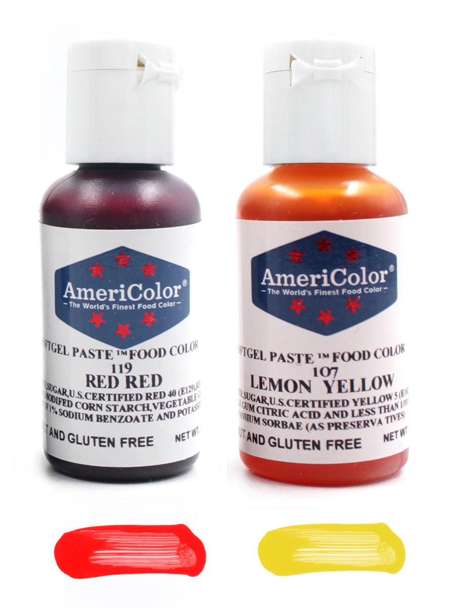 AmeriColor Набор из 2х гелевых пищевых красителей, оттенок Red Red (№119), Lemon Yellow (№107).