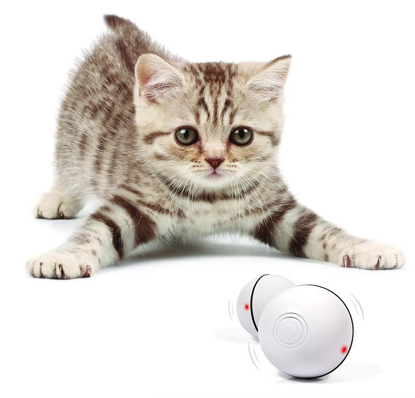 Интерактивная игрушка для кошек PetLeon Вращающийся на 360 градусов мяч USB заряжаемый светодиодная подсветка #1